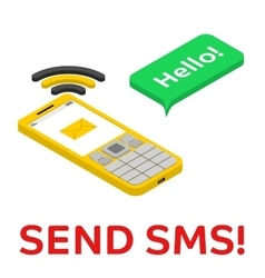 Send sms - isometric phone with chat bubble vector