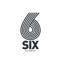 Black and white number six logo formed by vector