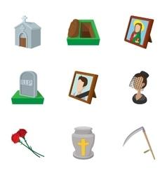 Death icons set cartoon style vector