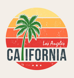 California tee print with styled palm tree vector
