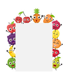 Various fruits cartoon with blank sign vector