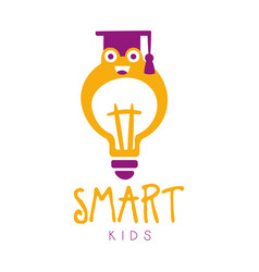 Smart kids logo symbol colorful hand drawn label vector