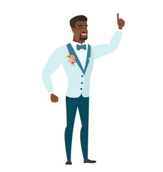 African groom pointing with his forefinger vector