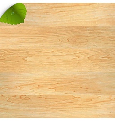 Wood Texture With Green Leaf vector image