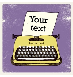 Retro typing writer with paper card vector