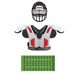 American football field helmet and armour vector