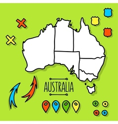 Freehand australia travel map on green background vector