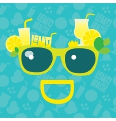 Lemonade smile summer sunglasses with lemons vector