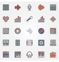 Music recording icons vector