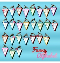 Funny alphabet triangular cards with letters vector
