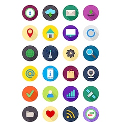 Color round internet icons set vector