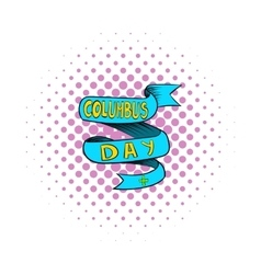 Blue columbus day ribbon icon comics style vector