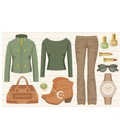 Fashion set with jeans and a jacket vector image