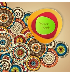 Abstract background with paisley mehndi doodles vector