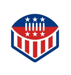 american football usa flag crest icon vector image