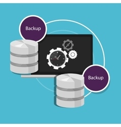 automatic backup database machine data protection vector image