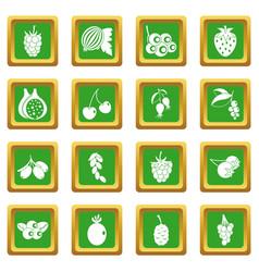 Berries icons set green vector