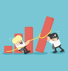 business team help falling graph vector image