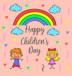 Children day theme with rainbow vector