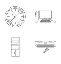 Clock with arrows a computer with accessories for vector