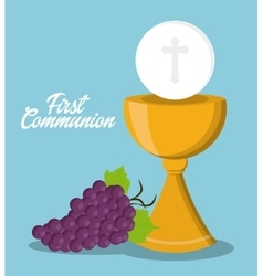 cup gold grapes religion icon graphic vector image vector image