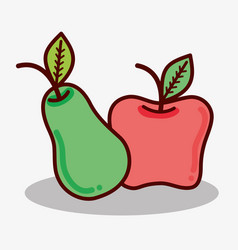 Delicious pear and apple fruit icon vector