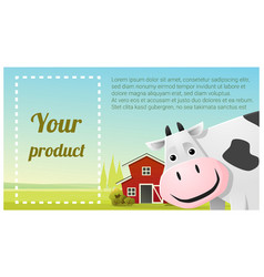 Farm animal and rural landscape with cow vector