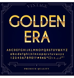Gold metallic font set letters numbers and special vector