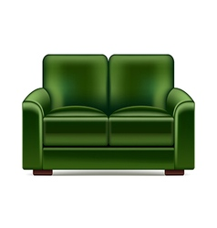 Green sofa isolated on white vector image