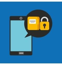 Hand holds smartphone padlock folder file vector
