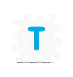 letter T written with alphabet puzzle vector image