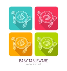 Line art baby tableware icon set in four color vector