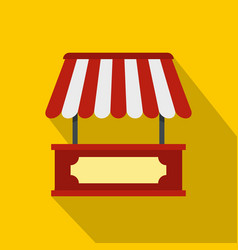 Market stall with red and white awning icon vector