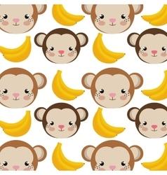 monkey cartoon and bananas background vector image