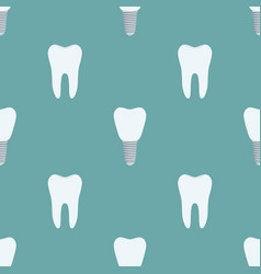 Seamless pattern of tooth implant prothesis vector
