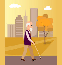 senior man with walking stick in city park poster vector image