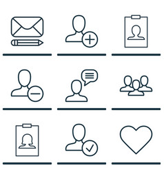 Set of 9 communication icons includes remove user vector