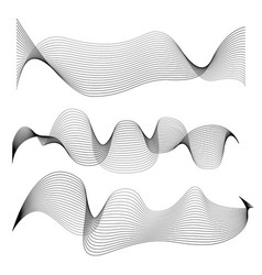 Set of abstract smooth lines isolated on white vector