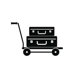Suitcases on a cart icon vector image vector image