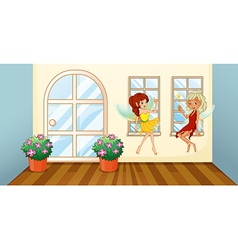 Two fairies sitting at the window vector