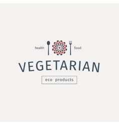 Vegetarian food emblem vector