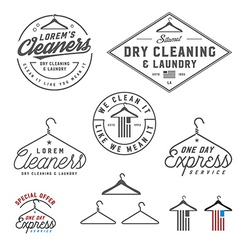 Vintage dry cleaning emblems and design elements vector image vector image