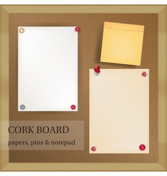 white and yellow papers with pins and note pad on vector image