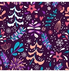 Winter flowers and snowflakes seamless pattern vector image