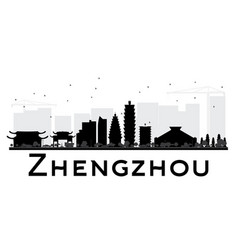 Zhengzhou city skyline black and white silhouette vector