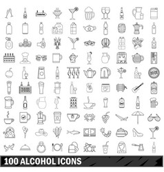 100 alcohol icons set outline style vector image vector image