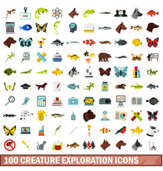 100 creature exploration icons set flat style vector image