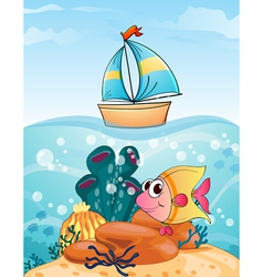 ship and fish vector image
