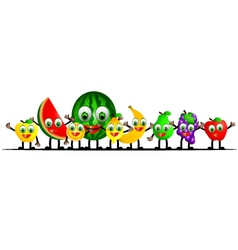 Funny fruits cartoon collection vector