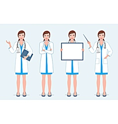 Set of four female doctors vector